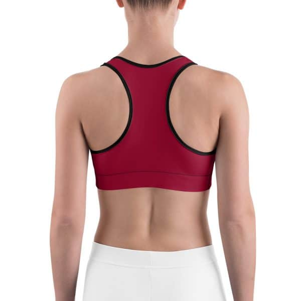 Her Everyday Sports Bra (Jester Red) on woman's back