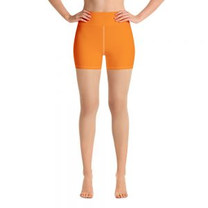 (Turmeric) Her Everyday Yoga Shorts on woman. Featuring high waist yoga leggings