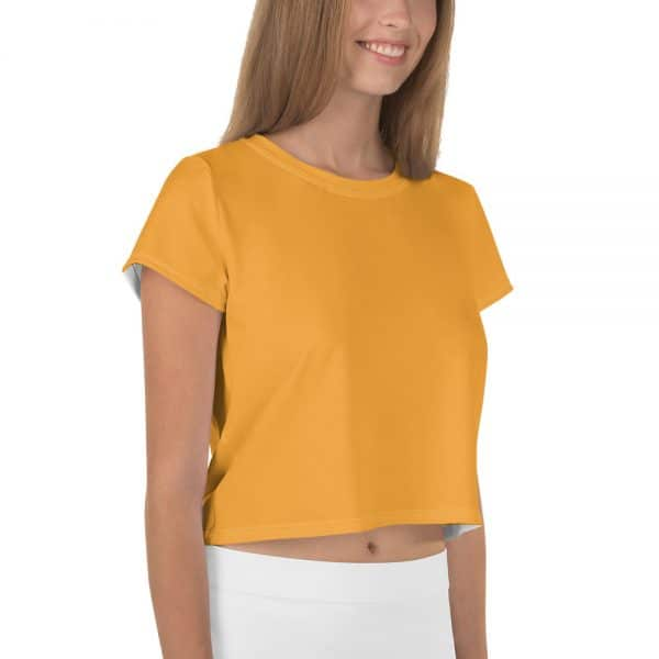 Her Everyday Cropped Tee on woman front angle (Mango Mojito)