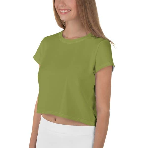 Her Everyday Cropped Tee on woman front angle (Pepper Stem)