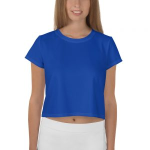Her Everyday Cropped Tee on woman front (Princess Blue)