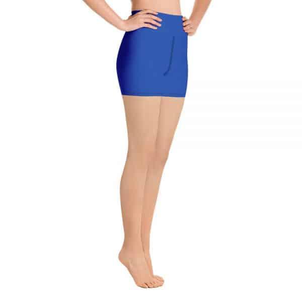 (Princess Blue) Her Everyday Yoga Shorts on woman. Featuring high waist yoga leggings
