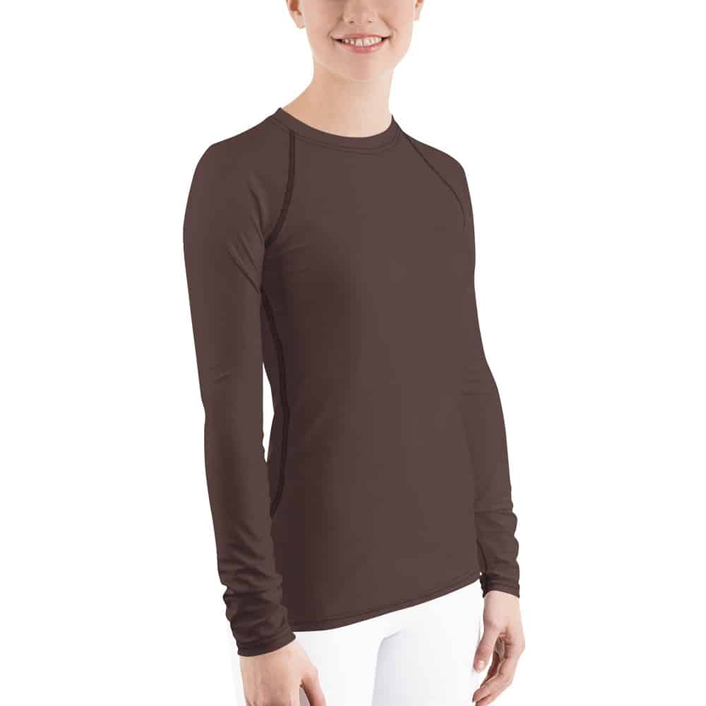 Her Everyday Rash Guard (Brown Granite) on woman front angle
