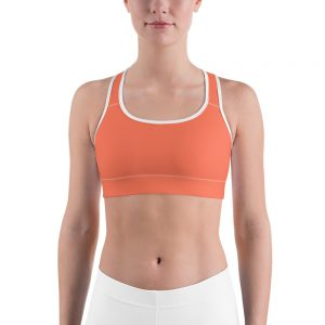 Her Everyday Sports Bra (Living Coral) on woman's front