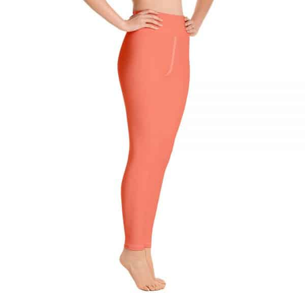 (Living Coral) Her Everyday Yoga Pants on woman. Featuring high waist yoga leggings