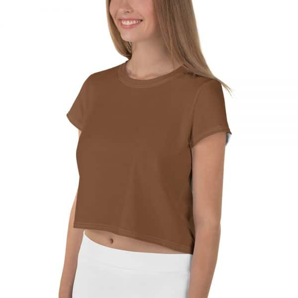 Her Everyday Cropped Tee on woman front angle (Toffee)