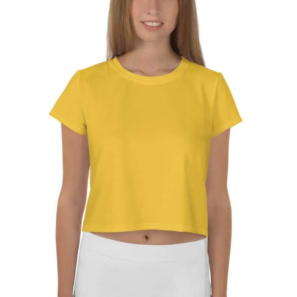 Her Everyday Cropped Tee on woman front (Aspen Gold)