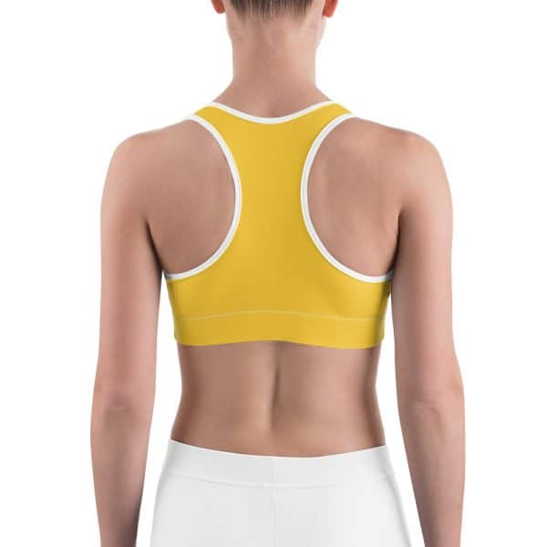 Her Everyday Sports Bra (Aspen Gold) on woman's back