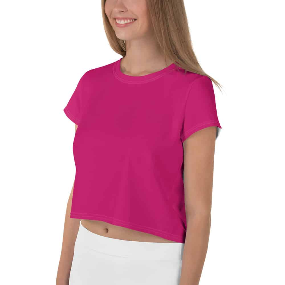 Her Everyday Cropped Tee on woman front angle (Pink Peacock)