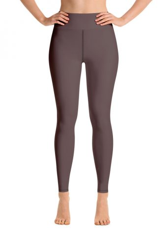 (Brown Granite) Her Everyday Yoga Pants on woman. Featuring high waist yoga leggings