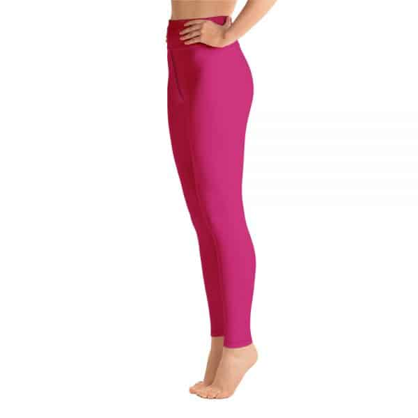 (Pink Peacock) Her Everyday Yoga Pants on woman. Featuring high waist yoga leggings