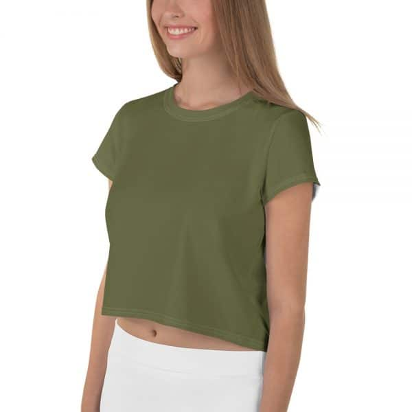 Her Everyday Cropped Tee on woman front angle (Terrarium Moss)
