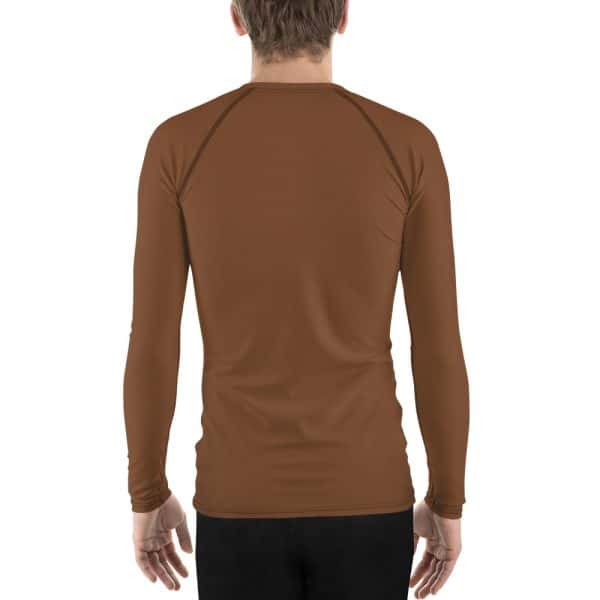 His Everyday Rash Guard on man back (Toffee)