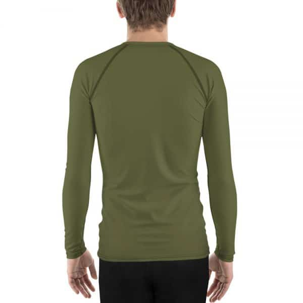 His Everyday Rash Guard on man back (Terrarium Moss)