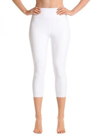 Her Everyday White Capri Yoga Leggings on woman front (New Moon)
