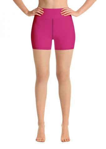 (Pink Peacock) Her Everyday Yoga Shorts on woman. Featuring high waist yoga leggings