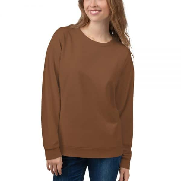 Her Everyday Sweatshirt (Toffee) on woman's front
