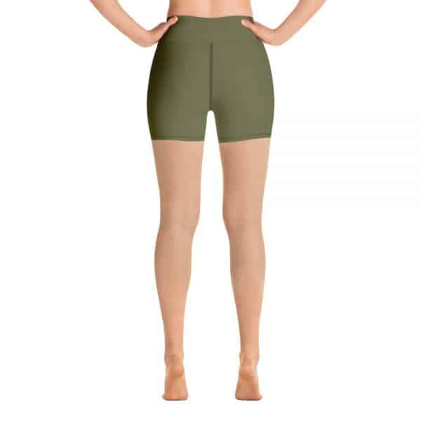 (Terrarium Moss) Her Everyday Yoga Shorts on woman. Featuring high waist yoga leggings