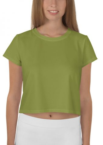 Her Everyday Cropped Tee on woman front (Pepper Stem)