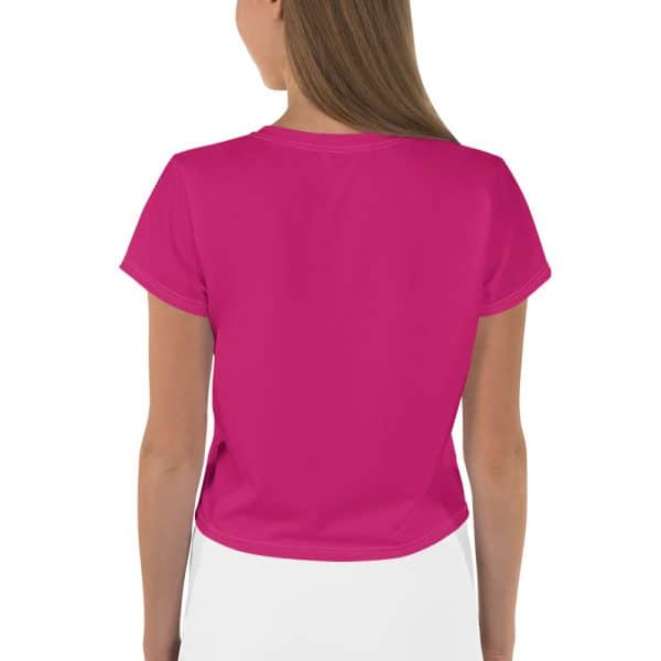 Her Everyday Cropped Tee on woman back (Pink Peacock)