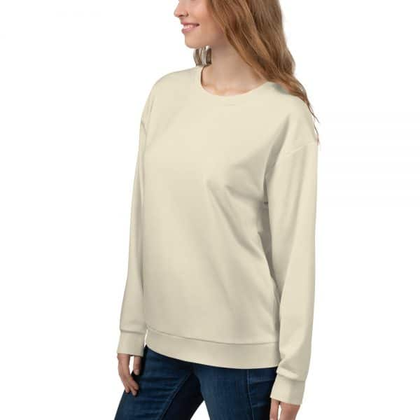Her Everyday Sweatshirt (Sweet Corn) on woman front angle