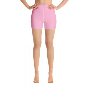 (Sweet Lilac) Her Everyday Yoga Shorts on woman. Featuring high waist yoga leggings