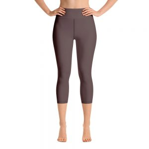 (Brown Granite) Her Everyday Capri Yoga Pants on woman. Featuring high waist yoga leggings