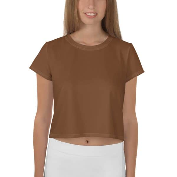 Her Everyday Cropped Tee on woman front (Toffee)