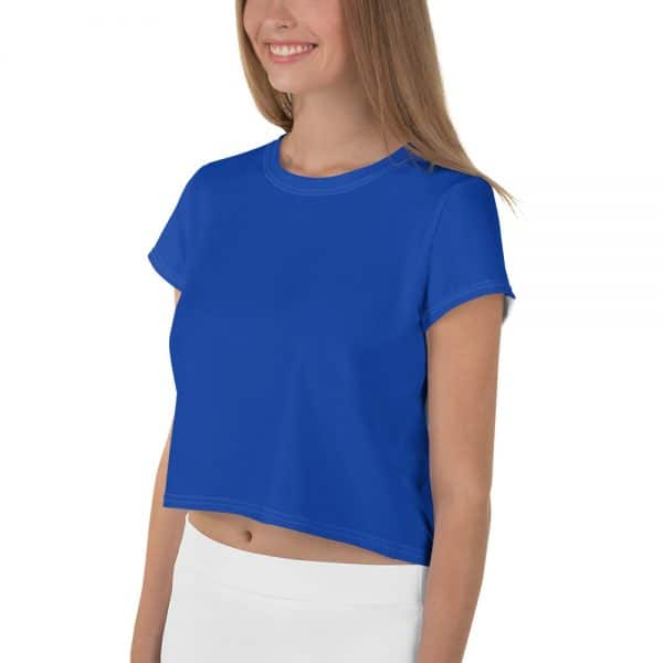 Her Everyday Cropped Tee on woman front angle (Princess Blue)