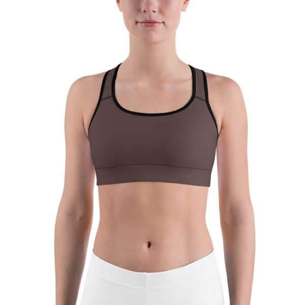 Her Everyday Sports Bra (Brown Granite) on woman's front