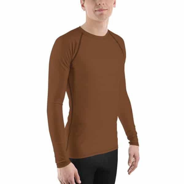 His Everyday Rash Guard on man front angle (Toffee)