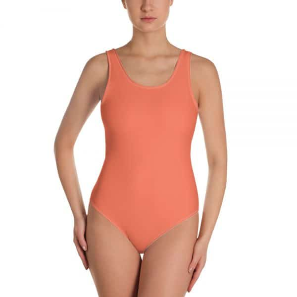 Her Everyday One-Piece Swimsuit (Living Coral) on woman front