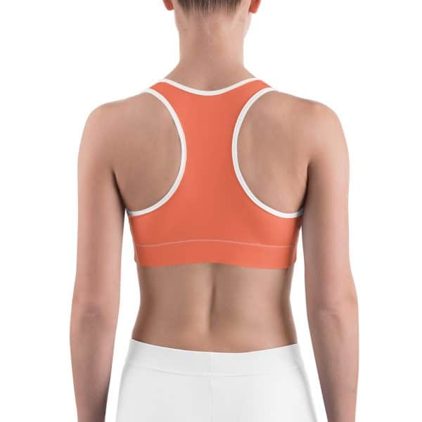 Her Everyday Sports Bra (Living Coral) on woman's back