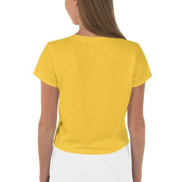 Her Everyday Cropped Tee on woman back (Aspen Gold)