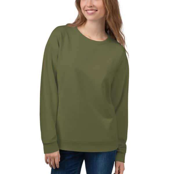 Her Everyday Sweatshirt (Terrarium Moss) on woman's front