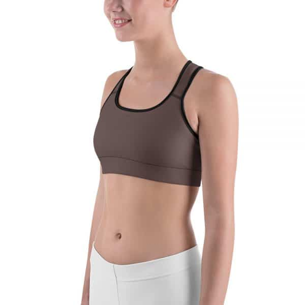 Her Everyday Sports Bra (Brown Granite) on woman front angle 2