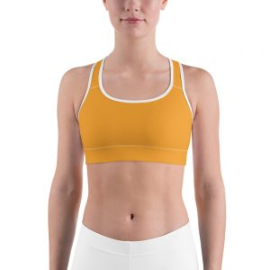Her Everyday Sports Bra (Mango Mojito) on woman's front