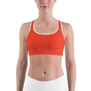 Her Everyday Sports Bra (Fiesta) on woman's front