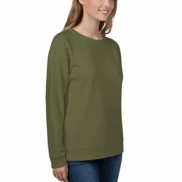 Her Everyday Sweatshirt (Terrarium Moss) on woman front angle 2