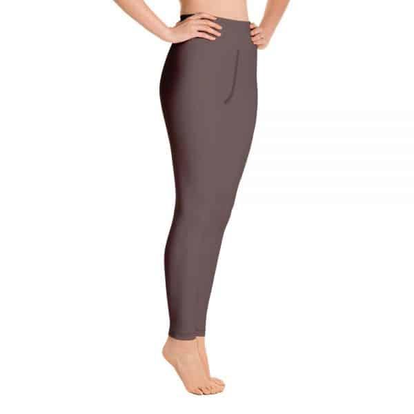 (Brown Granite) Her Everyday Yoga Pants on woman. Featuring high waist yoga leggings