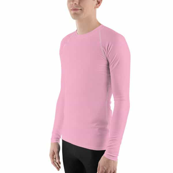 His Everyday Rash Guard on man front angle (Sweet Lilac)