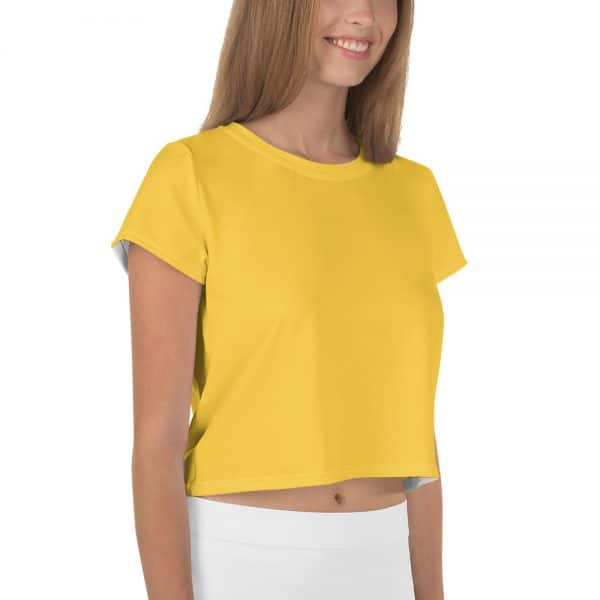 Her Everyday Cropped Tee on woman front angle (Aspen Gold)