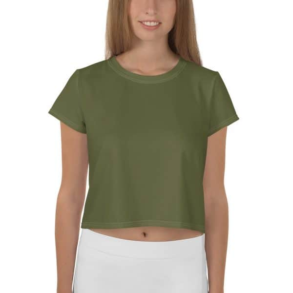 Her Everyday Cropped Tee on woman front (Terrarium Moss)