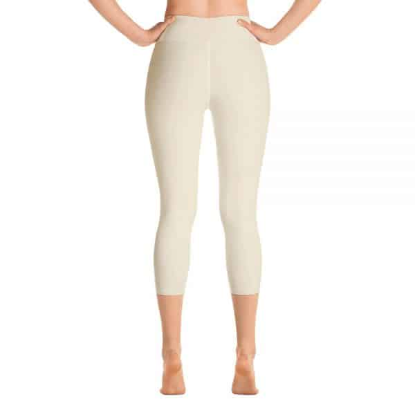 (Sweet Corn) Her Everyday Capri Yoga Pants on woman. Featuring high waist yoga leggings