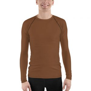 His Everyday Rash Guard on man front (Toffee)