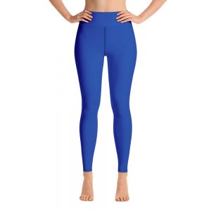 (Princess Blue) Her Everyday Yoga Pants on woman. Featuring high waist yoga leggings