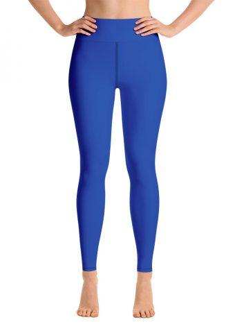 (Princess Blue) Her Everyday Yoga Pants on woman. Featuring high waist yoga leggings