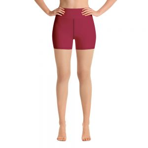 (Jester Red) Her Everyday Yoga Shorts on woman. Featuring high waist yoga leggings