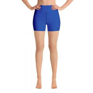 (Princess Blue) Her Everyday Yoga Shorts on woman. Featuring high waist yoga leggings