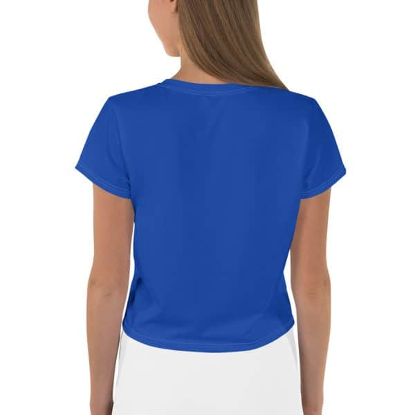 Her Everyday Cropped Tee on woman back (Princess Blue)